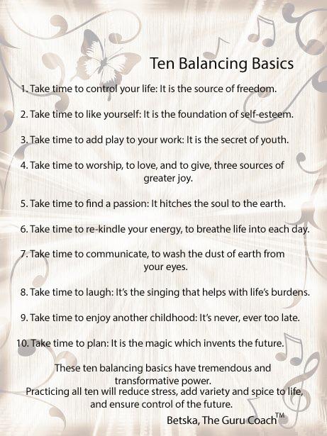 10 Balancing Basics
