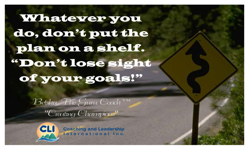 Whatever you do, don't put the plan on a shelf. Don't lose sight of your goals!